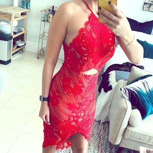 Red Lace Cut Out High Low Halter Dress